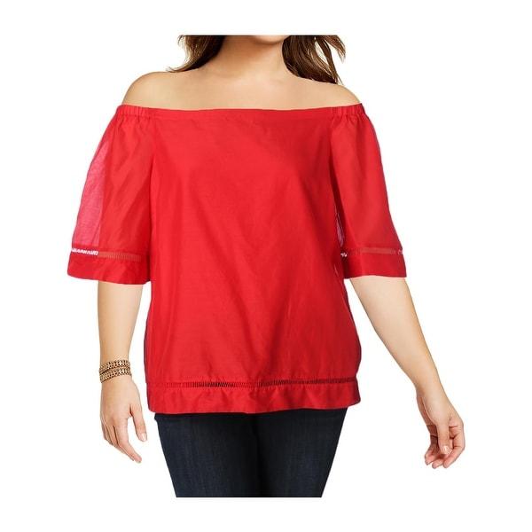 18d4ac0c275b61 Lauren Ralph Lauren Womens Karleigh Blouse Silk Blend Off the Shoulder