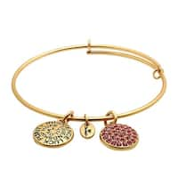 Chrysalis Expandable October Bangle Bracelet with Pink Swarovski Crystals in 14K Gold-Plated Brass
