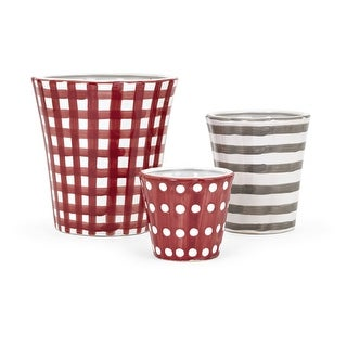 IMAX Home 60260-3  Berry Patch Ceramic Planters by Trisha Yearwood - Set of 3 - Red
