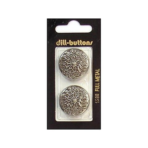 Dill Buttons 25mm 2pc Shank Antique Silver Metal