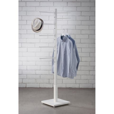 2 Sided White Garment Rack with 8 Arms