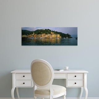 Easy Art Prints Panoramic Images's 'Town at the waterfront, Portofino, Italy' Premium Canvas Art