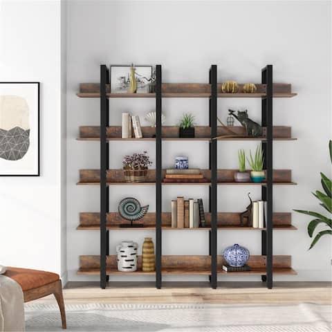 Large 5-Tier Open Bookcase, Rustic Triple Wide Bookshelf Display Storage Shelves
