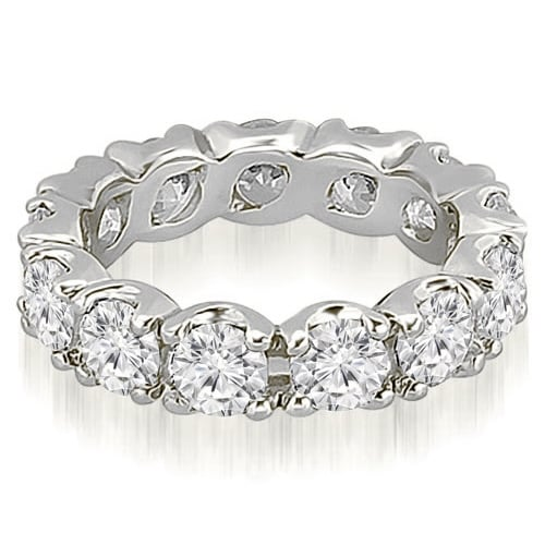 14K White Gold 2.70 cttw. Round Cut Diamond Fishtail Eternity Ring HI, SI1-2