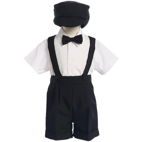 Lito Little Boys Black Bow Tie Hat Suspendered Short Shirt Clothing Set 3T