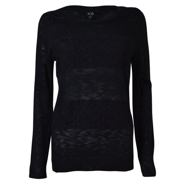 16600569ea4977 Shop AGB Women's Lace Stripe Knit Blouse - Black - Free Shipping On Orders  Over $45 - Overstock - 14815185