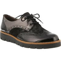 Spring Step Women's Yulene Wingtip Brogue Black Patent Leather/Dusted Metallic Suede