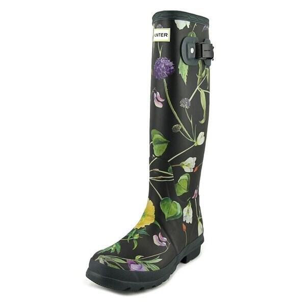 Hunter RHS Tall Women Round Toe Synthetic Black Rain Boot