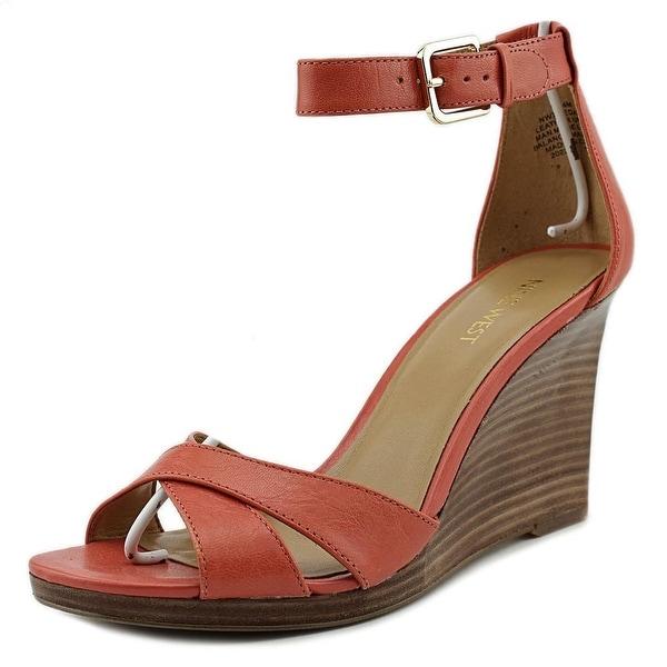 Nine West Medano Women  Open Toe Leather Orange Wedge Heel