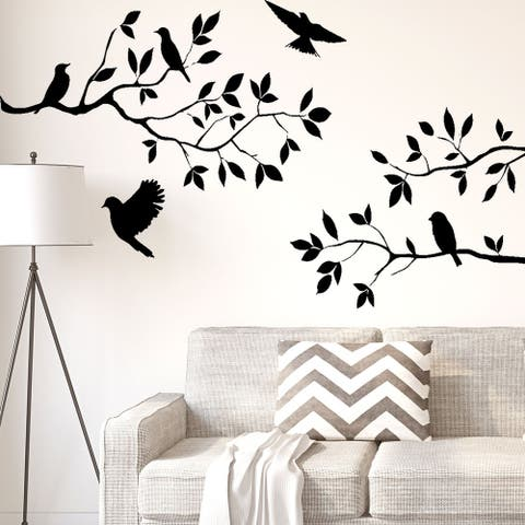 Branch Bird Self-stick Wall Stickers Artificial Decal for Bedroom - Black