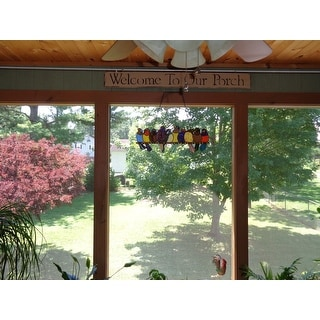 """River of Goods Stained Glass 'Birds on Wire' 9.25-in. Window Panel - 24.25""""L x 0.25""""W x 9.5""""H"""