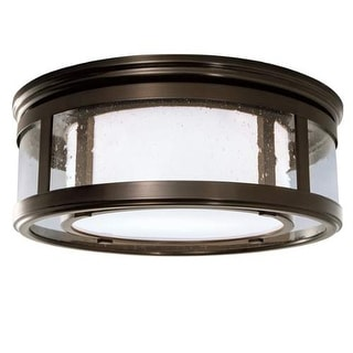 """Norwell Lighting 5645 Turnberry 2 Light 16"""" Wide Flush Mount Ceiling Fixture with Seedy Glass Shades"""