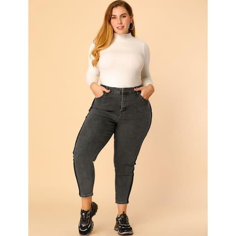 Women's Plus Size Stretch Mid Rise Contrast Panel Skinny Jeans - Dark Grey