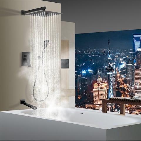 Rainlex Matt Black Wall-Mounted Three Functions Tub Shower System