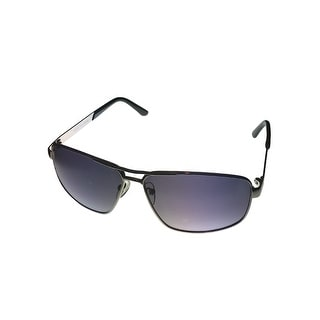 Perry Ellis Mens Sunglass PE40 2 Silver Square Metal Aviator, Light Smoke Lens - Medium