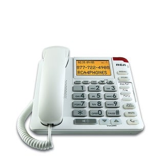 Rca 1124-1Wtga Corded Phones Amplified Big Button Corded Phone With Built-In Caller Id