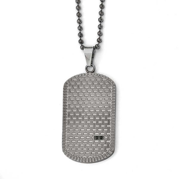 Chisel Stainless Steel Antiqued Polished and Brushed CZ Necklace - 22 in