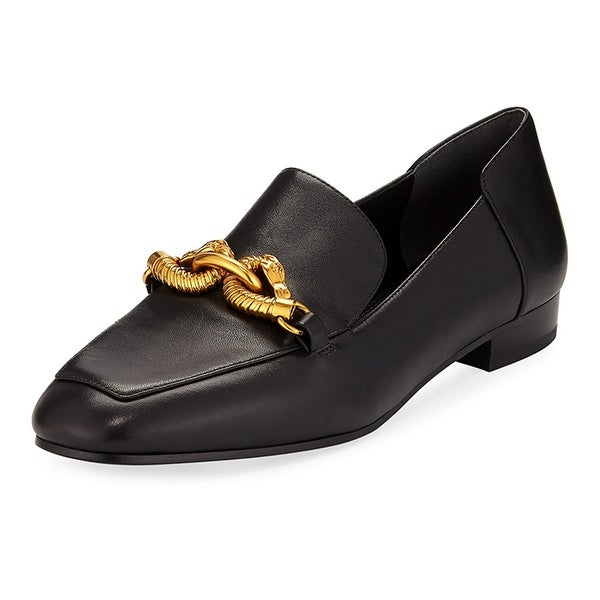 28e859255 Shop Tory Burch Black Leather Jessa Loafer Gold Buckle - Free Shipping  Today - Overstock - 26981131