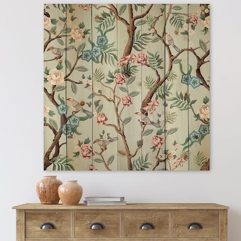 Designart 'Chinoiserie With Birds and Peonies X' Traditional Print on Natural Pine Wood
