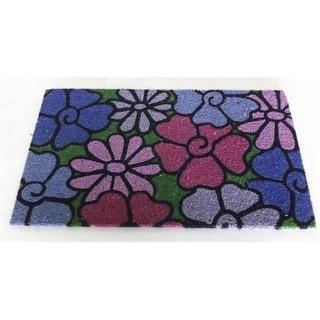 JMJ LE 1314 B Lovely Blue Floral Pattern Outdoor Coir Mat