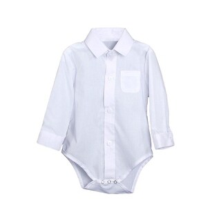 Baby Boys White Poly Cotton Button Up Dress Shirt Bodysuit
