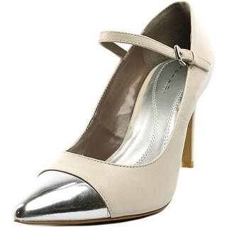 Tahari Sabina Women Pointed Toe Leather Ivory Mary Janes