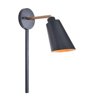 Brady Matte Black with Antique Brass 12 Inch 1 Light Sconce with Plug