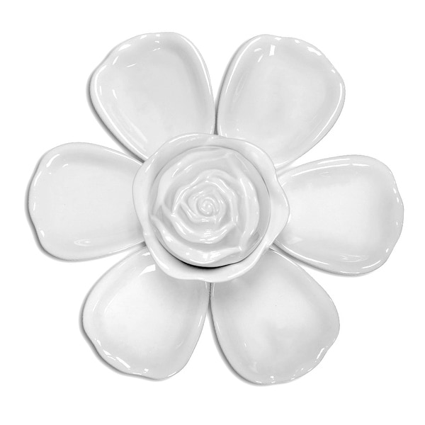 Ceramic Flower-Shaped 8-Piece Serving Dish Set