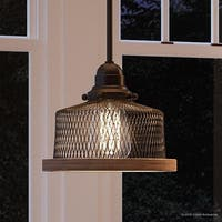 """Luxury Vintage Pendant Light, 7""""H x 8""""W, with Industrial Chic Style, Olde Bronze Finish by Urban Ambiance"""