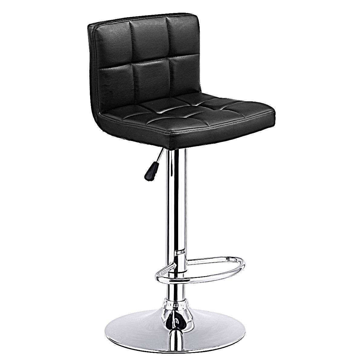 Costway 1 PC Bar Stool Swivel Adjustable PU Leather Barstools Bistro Pub  Chair Black