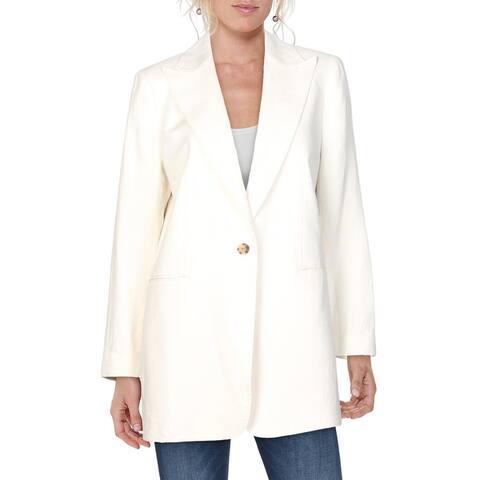 Lafayette 148 New York Womens One-Button Blazer Wool Blend Office