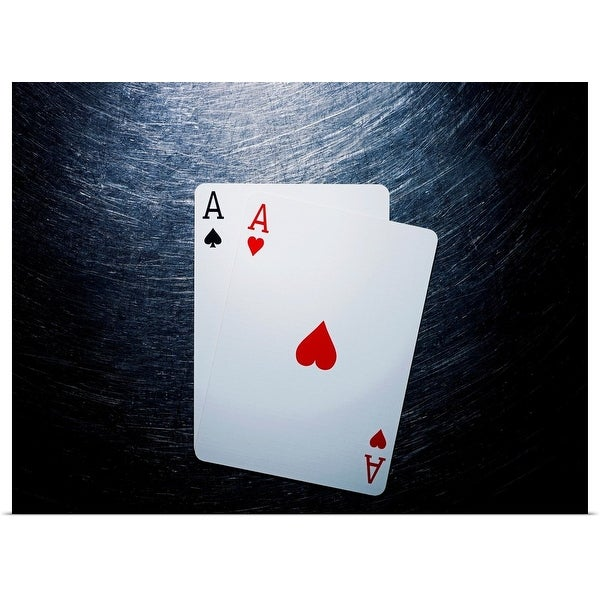 """""""Two Aces Playing Cards on Stainless Steel."""" Poster Print"""