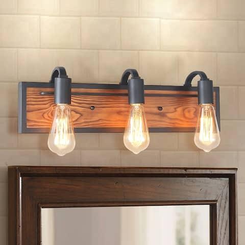 "Carbon Loft Rustic 3-lights Wood Wall Sconce - W21.3"" x E4.3""x H5.9"""