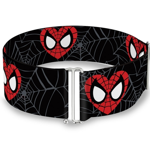 Marvel Comics Spider Man Heart Face Web Black Gray One Size Cinch Waist Belt ONE SIZE