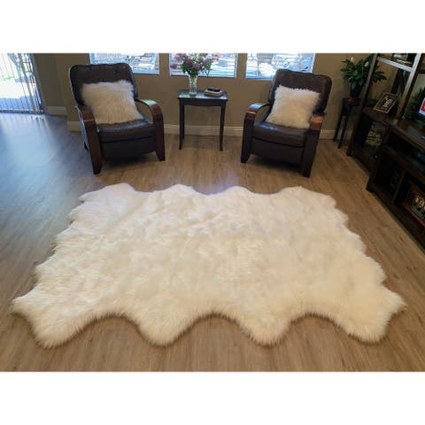 "Highland Select Natural Long Wool Sheepskin 8 Pelt Shag Rug - 5'5"" x 6'8"""