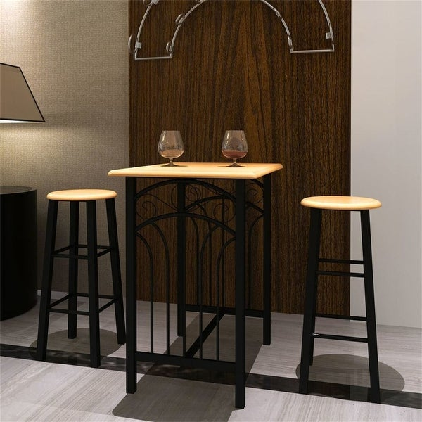 3-Piece Breakfast Kitchen Dining Table Set With 2 Bar Chair,Black. Opens flyout.