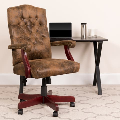 Executive Upholstered Brown Swivel Office Arm Chair