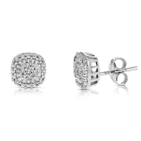 1/10 cttw Diamond Earrings .925 Sterling Silver with Rhodium Plating