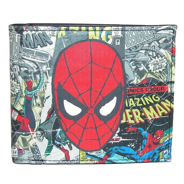 Marvel Men's Comic Print Bifold Wallet with Character Head - One size