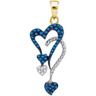 Heart Chandlier Pendant 10K Yellow-gold and White Gold With Blue Diamonds 0.2 Ctw By MidwestJewellery