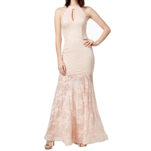 Xscape Womens Dress Pink Size 4 Keyhole Floral Lace Sequin Gown