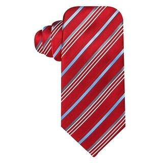Geoffrey Beene Red and Blue Satin Stripe Silk Blend Tie One Size Necktie