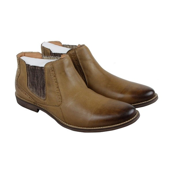 Steve Madden Paxton Mens Tan Leather Casual Dress Slip On Loafers Shoes