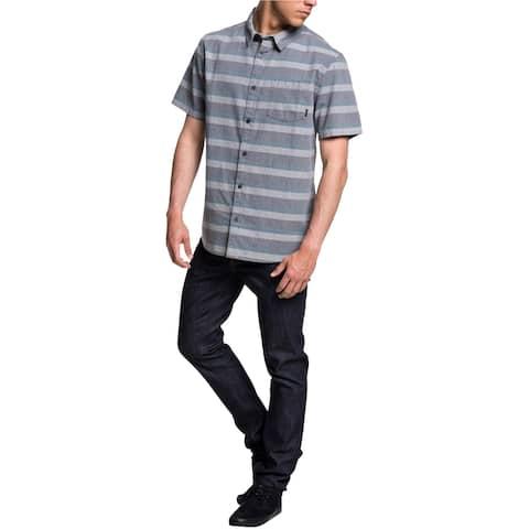 Quiksilver Mens TAMA Button Up Shirt, Blue, Medium