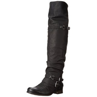 Carlos by Carlos Santana Womens WHITNEY Almond Toe Knee High Motorcycle Boots