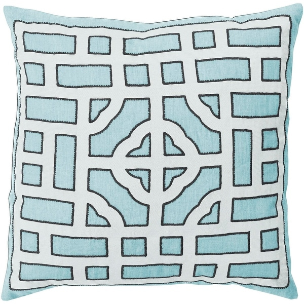 "22"" Icy Blue and Cream White Decorative Throw Pillow"