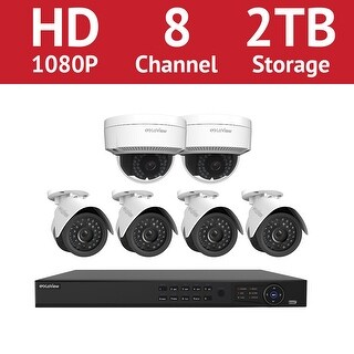 LaView 8 Channel 1080p IP NVR with (4) 1080p Bullet Cameras and (2) 1080p Dome Cameras and a 2TB HDD