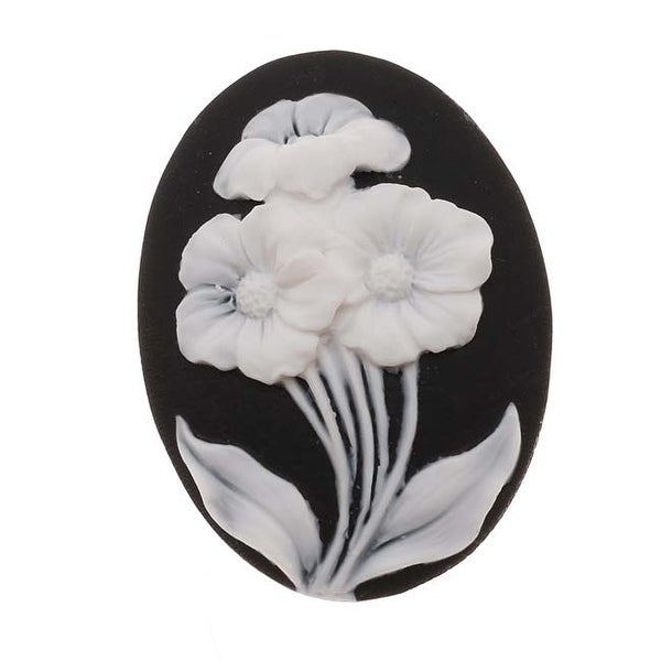 Vintage Style Lucite Oval Cameo Black With 3 White Flowers 40x30mm (1 Piece)