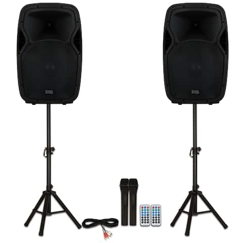 """Acoustic Audio AA15BS Powered 15"""" Bluetooth Speakers with Batteries Mics Stands"""
