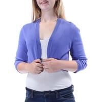 ANNE KLEIN Womens Purple Textured Long Sleeve Open Vest Top  Size: M